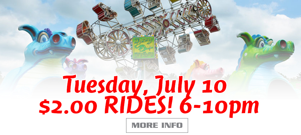 Tusday July 0, Two Dollar Rides from 6-10pm