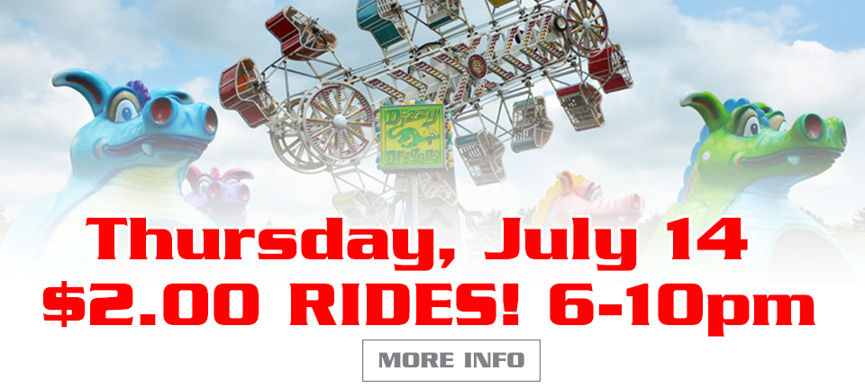 Thursday July 14, Two Dollar Rides from 6-10pm